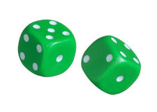 Green dices. Royalty Free Stock Photo