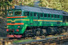 Green diesel cargo locomotive. In forest Royalty Free Stock Images