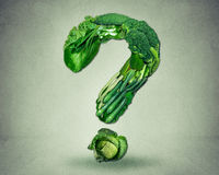 Green diet questions concept resh fruit vegetables Stock Photography