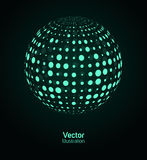 Green digital ball. Communication concept illustration on a black background Stock Image