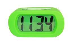 Green digital electronic clock Stock Photo