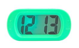 Green digital electronic clock Stock Images