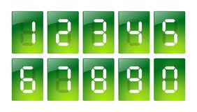Green digital number icons. Illustration 3D matrix digits for web