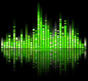 Green digital sound equalizer Stock Images