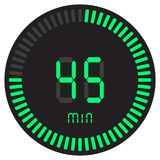 The green digital timer 45 minutes. electronic stopwatch with a gradient dial starting vector icon, clock and watch, timer, countd. Own symbol. Vector vector illustration