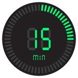 The green digital timer 15 minutes. electronic stopwatch with a gradient dial starting vector icon, clock and watch, timer. The green digital timer 15 minutes stock illustration