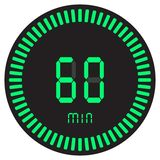The green digital timer 60 minutes, 1 hour. electronic stopwatch with a gradient dial starting vector icon, clock and watch. The green digital timer 60 minutes royalty free illustration