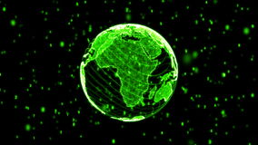 Green Digital World Globe Loopable stock footage