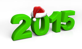 2015 green digits with santa hat. On white Royalty Free Stock Photography