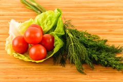 green dill and tomatoes on wooden boards Stock Image
