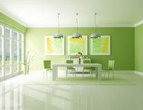Green Dining room. Minimalist green dining room - the art picture on wall are my composition royalty free illustration