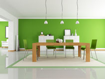 Green dining room. Modern dining room with wooden table and green chair - rendering Stock Photography