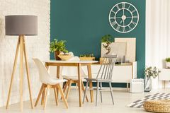 Green dining room interior. Grey lamp next to chairs at wooden table in green dining room interior with gold round clock Stock Photo