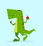 Green dino in action Royalty Free Stock Image