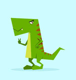 Green dino in action Royalty Free Stock Photo
