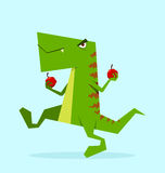 Green dino in action Royalty Free Stock Photos