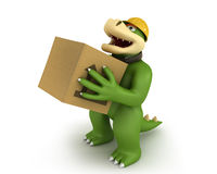 Green dino with carton box Stock Photography
