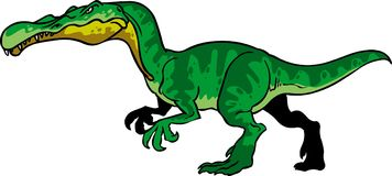 Green dinosaur suchomimmus cartoon bad ugly Royalty Free Stock Image