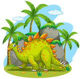 Green dinosaur walking in the park Royalty Free Stock Photo