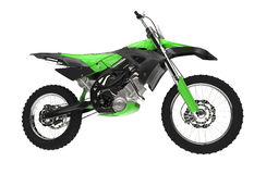 Green Dirt Bike - Side View Stock Photography