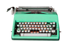 Green dirty Retro typewriter with clipping path isolated on whit Stock Images