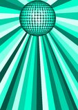 Green disco ball. Illustration of green disco ball with abstract background Royalty Free Stock Photo
