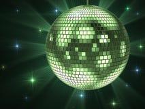Green disco ball. Shiny club disco ball on black Royalty Free Stock Images