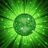 Green disco ball and light burst vector illustration