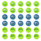 Green discount circle label Stock Photos