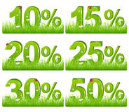 Green Discount Figures In Grass. Vector. Set Of Green Discount Figures In Grass For Your Design, Isolated on white Royalty Free Stock Photo