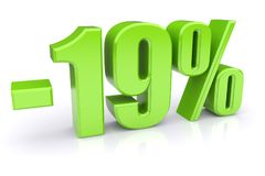 19% discount on a white. Green 19% discount icon on a white background. 3d rendered image stock illustration