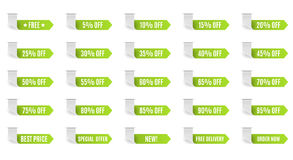Green discount label set vector for design. 5 10 15 20 25 30 35 40 45 50 55 60 65 70 75 80 85 90 95 percent Royalty Free Stock Images