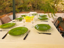 Green dishes on table ready for food to be served at lunch time. Royalty Free Stock Photos