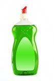 Green dishwashing liquid isolated on white. Dishwashing liquid detergent isolated on white background stock image
