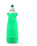 Green Dishwashing Liquid Soap in a Bottle Isolated Stock Photography