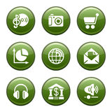 Green disk set 05. Vector icons set for internet, website, guides Royalty Free Stock Photography