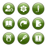 Green disk set 06. Vector icons set for internet, website, guides royalty free illustration