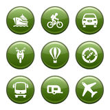 Green disk set 20. Vector icons set for internet, website, guides Royalty Free Stock Images
