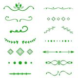 Green Dividers vector on white background. Handdrawn borders. Unique swirl, divider. Ink, brush lines, laurels set. royalty free illustration