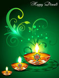 Green Diwali Background with floral. Vector illustration