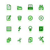 Green document icons. On the white background Royalty Free Stock Image
