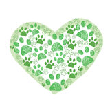 Green dog paw made of hearts vector illustration Royalty Free Stock Image