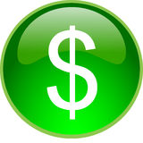 Green dollar button Stock Image