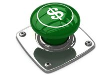 Green dollar button concept Stock Images