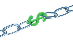 Green dollar and chain. Isolated white Stock Photography