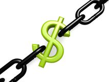 Green dollar and chain Royalty Free Stock Images