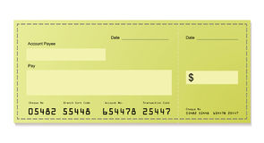 Green dollar cheque Royalty Free Stock Photos