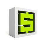 Green dollar currency symbol icon on white. Business concept 3d render illustration Royalty Free Stock Images