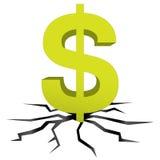 Green dollar earth crack vector Royalty Free Stock Photo
