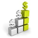Green dollar financial success bar chart graph. 3d render illustration Stock Photos
